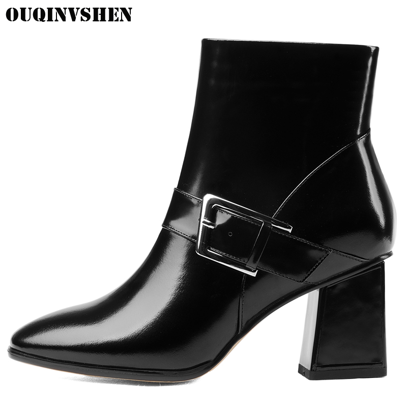OUQINVSHEN Pointed Toe Square heel High Heels Women Boots Casual Fashion 2017 New Winter Buckle Ankle Boots Zipper Women's Boots
