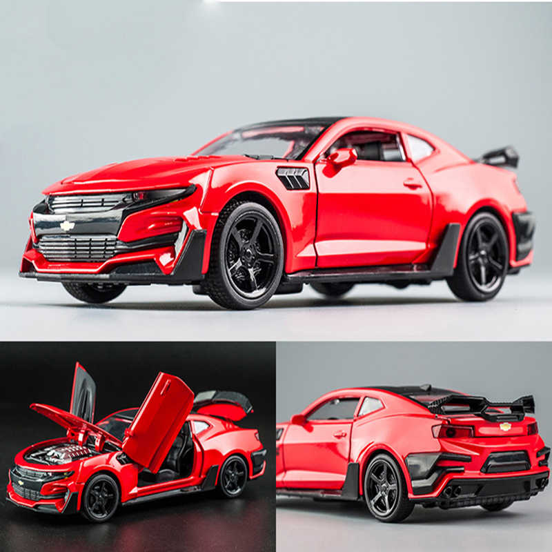 KIDAMI Camaro 1:32High Simulation Alloy Diecast Car Model Pull Back Sound Light Collection for Children's Gifts машинки