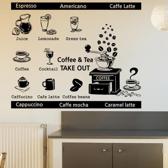Free Shipping Coffee Shop Big Vinyl Wall Decal Coffee