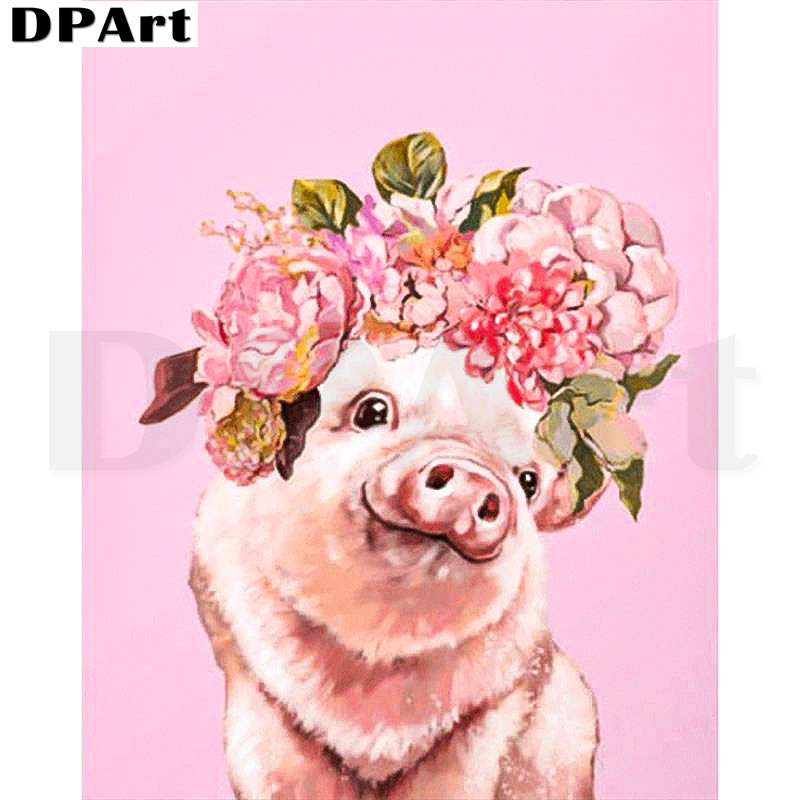 Diamond Painting Full Square/Round Drill Cute Pig Flowers 5D Daimond Painting Embroidery Cross Stitch Kit Mosaic Rhinestone T144