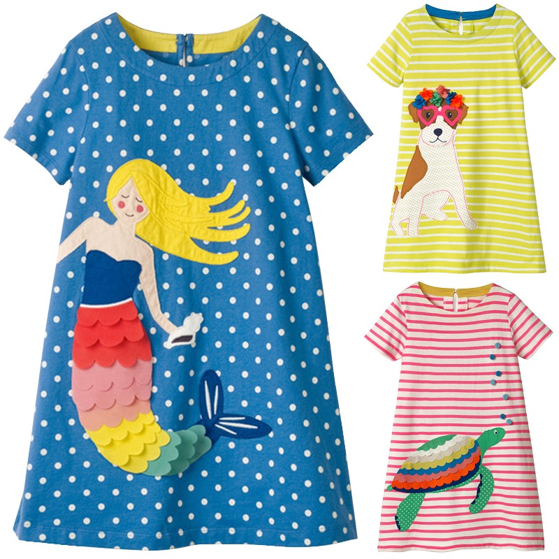 Mermaid Baby Girls Dresses Jumper Fashion Children Clothes Stripe Dot Girl One-Piece Dress Dog Kids Blouses Outfit Tops 2-10Year