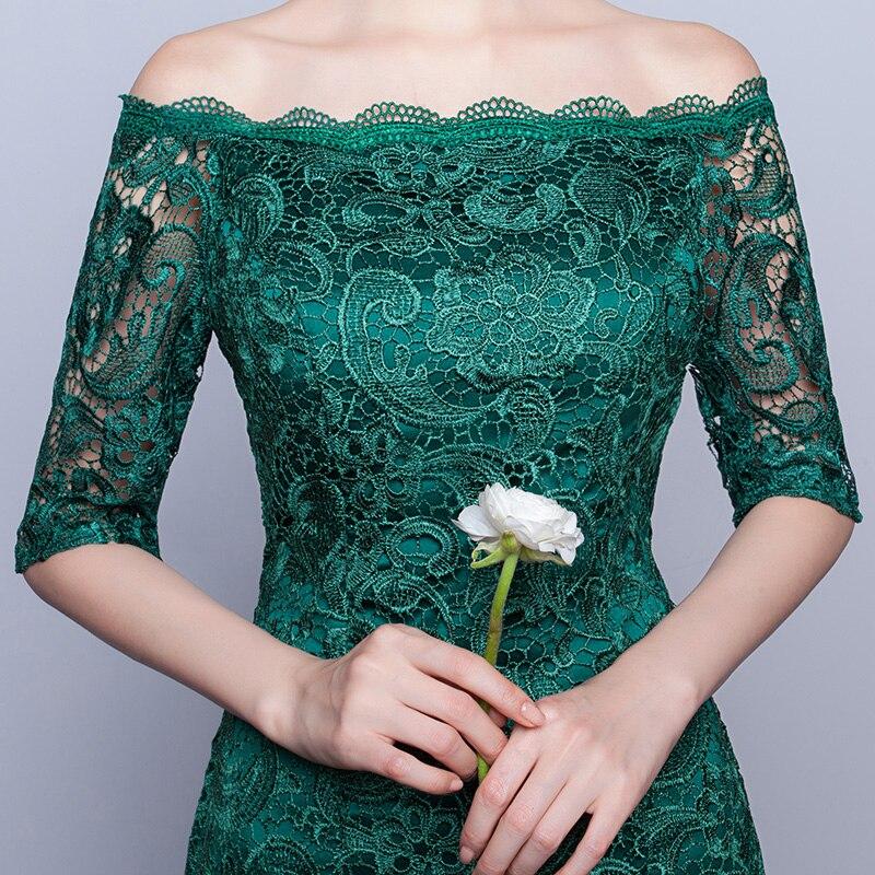 DongCMY Nieuwe 2019 korte mode elegante medium mouwen kanten groene - Jurken voor bijzondere gelegenheden - Foto 4