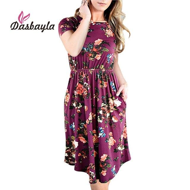 ee0cd2622390 Dasbayla Women Loose Swing Dress 2018 Spring Short Sleeve Pocket Floral  Midi Dresses Empire ladies Sexy Office vestidos Female