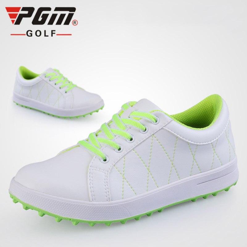 Sapatos de Golfe Tênis de Golfe Mulher à Prova Novas Mulheres Conforto Macio Agradável Dwaterproof Água Sapatos Esporte Couro Não Deslizamento Branco Rosa 36 37 38 39 Pgm