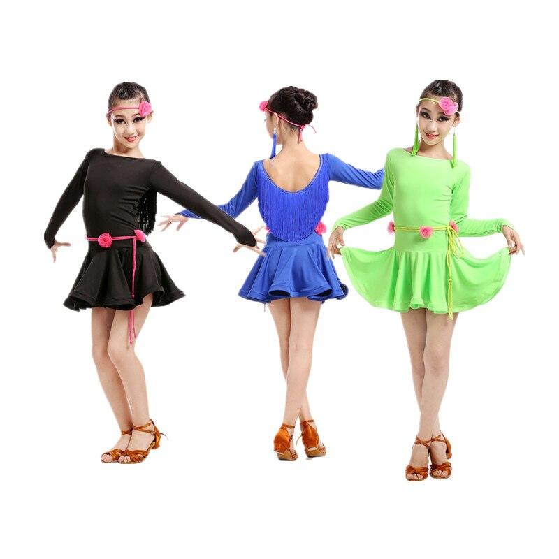 New Adult Child Latin Dance Costume   Spandex Long Sleeves Latin Dance Dress For Women/child Latin Dance  Dresses S-4XL