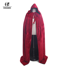 Rolecos New Men and Women Halloween Costumes Death Wizard Witch 160cm Red Flannel Cloak with Hood Unisex