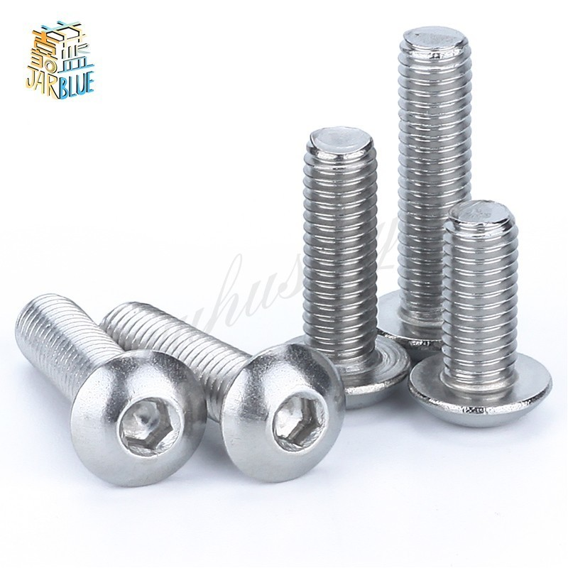 M4 Bolt A2-70 Button Head Socket Screw Bolt SUS304 Stainless Steel M4*(5/6/8/10/12/14/16/18/20/25/30/25~80) mm