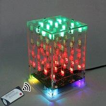 LEORY 5 v 4x4x4 כפולה צבע 3D LED מוסיקה קוביית אור כיכר אלקטרוני DIY ערכת עם שלט רחוק