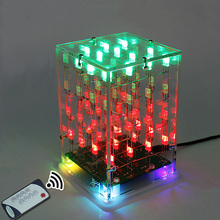LEORY 5V 4x4x4 Dual Color 3D LED Music Cube Light Square Electronic DIY Kit With remote control