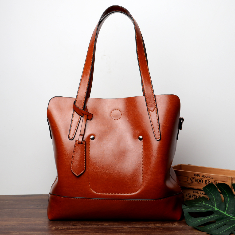High Quality Women genuine Leather handbags 2018 Vintage Oil wax Cowhide Messenger Shoulder Bag Simple Design ladies Casual bags
