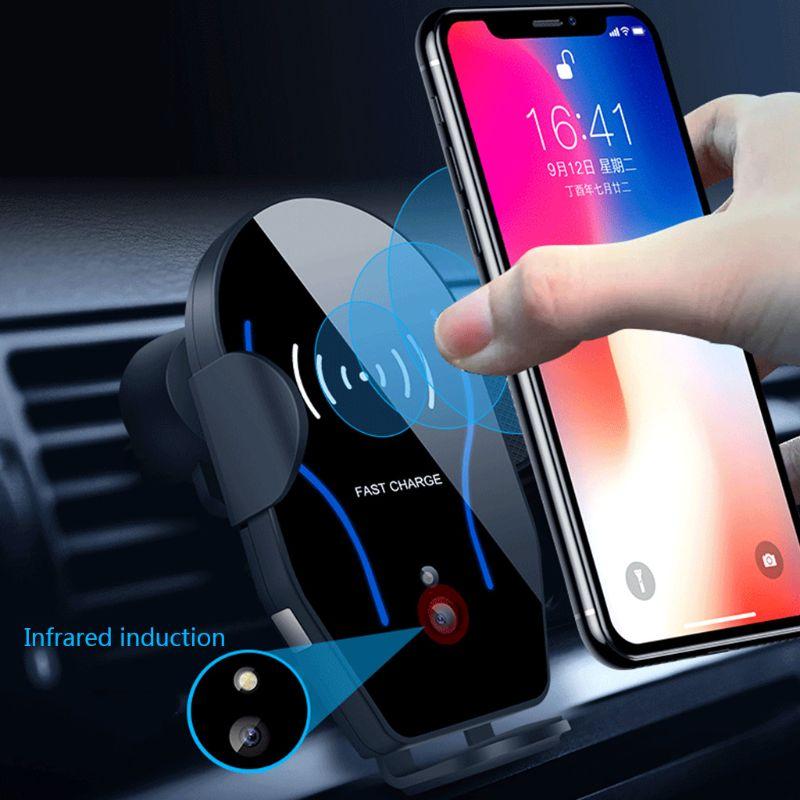 10 W Carregador Qi Carro Sem Fio Rápida Air Vent + Rápido Suporte De Carregamento Automático de Detecção de Infravermelho Ajustável para Apple iPhone samsung