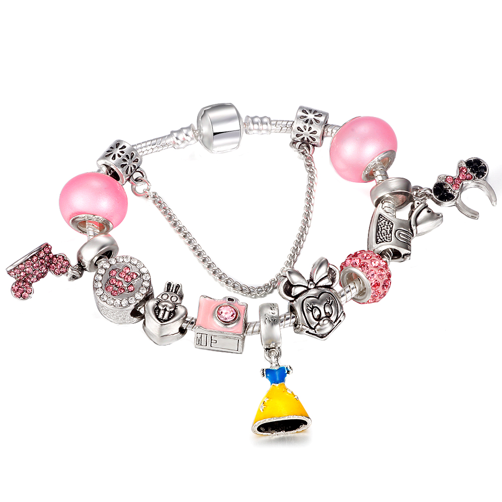 Hot Sale Bracelets Cartoon Mickey Minnie Charms Murano Beads Fits European Brand Bracelets & Bangles DIY Jewelry Gift