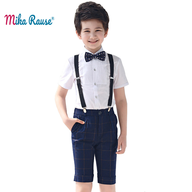 Summer shorts Children's clothes sets boys tops student uniform costume kids boy party clothing set (white shirt+plaid pants)