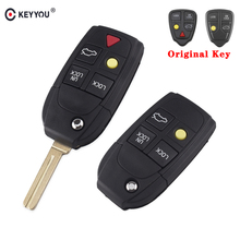 KEYYOU 5 Buttons Modified Remote Flip Folding Car Key Shell Case For Volvo XC70 XC90 V50 V70 S40 V40 V90 C70 S60 S80 S70