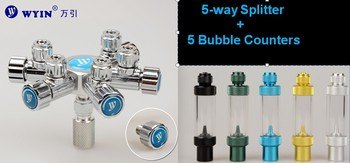 WYIN W02-05 Multiple CO2 Regulator Connector 1 To 5 Multi-way, Aquarium,  5 outlet,  5-way splitter with bubble conters
