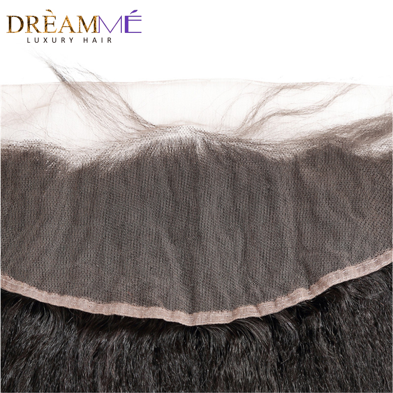 Dreamme Hair Pre-Plukket Kinky Straight Lace Frontal Closure 13x4 - Menneskehår (sort) - Foto 4