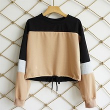 DeRuiLaDy 2018 New Women Autumn Winter Casual Hoodies Woman Sexy O Neck Patchwork Long Sleeve Lace Up Loose Sweatshirt Crop Top