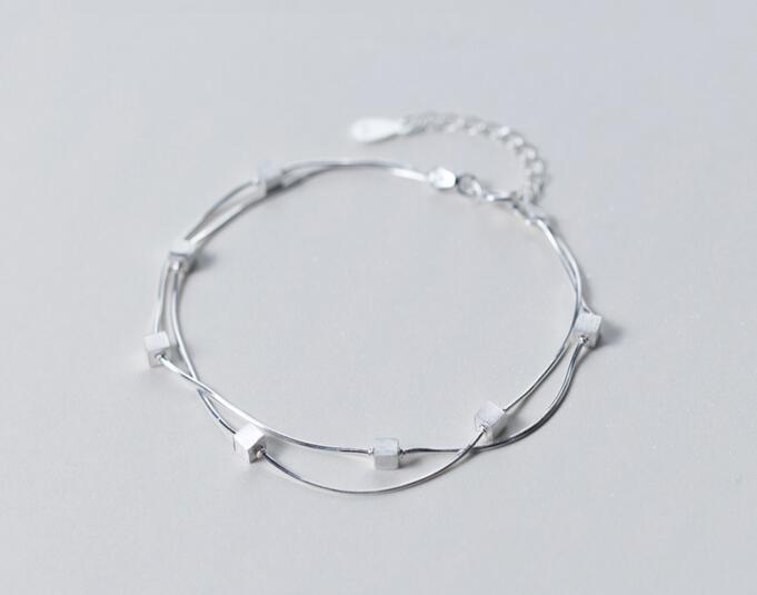 (so Dünn) Real. 925 Sterling Silber Schmuck Doppelschichten/zwei Reihen Quadratischer Würfel Schlange Knochen Armband Geometrische Gtls415