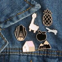 Cartoon Animal Sheep Pineapple Mountain Shell House Fox Enamel Pin Brooch Creative Personality Brooches Jacket Collar Badge Pins