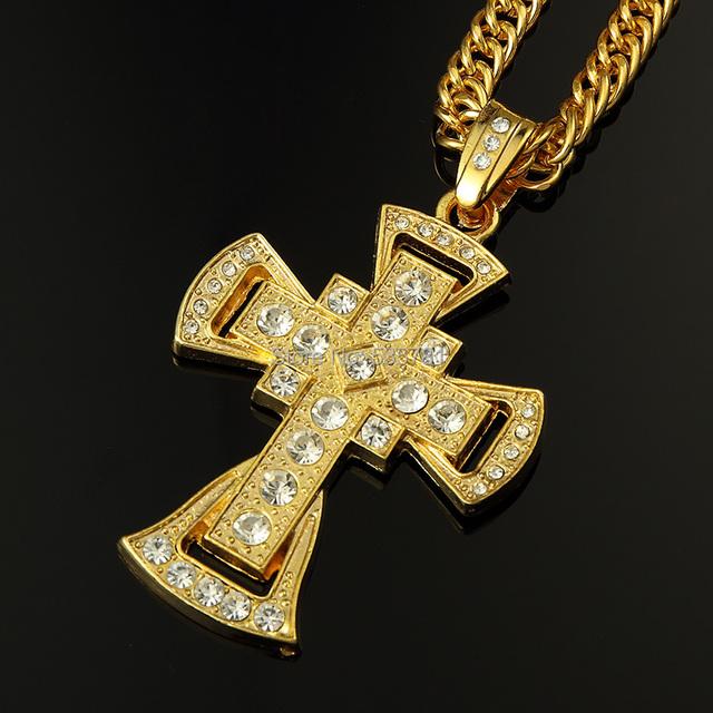 Notícias 2017 homens pingente de cruz de cristal corrente de ouro do chapeamento de prata colar de jóias hip hop estilo religioso N158