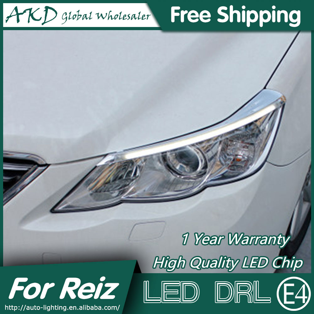AKD Car Styling LED DRL for Toyota Reiz 2012-2013 Mark X Eye Brow Light LED External Lamp Signal Parking Accessories akd car styling led drl for kia k2 2012 2014 new rio eye brow light led external lamp signal parking accessories