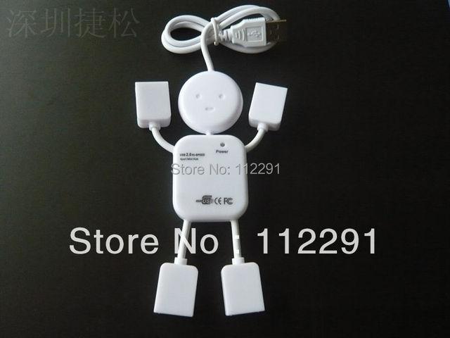 Free shipping usb splitter Lovely White Human Shape HI-SPEED USB 2.0 4 port USB HUB Doll shape #TJDUH004