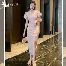 Летнее винтажное платье Ципао со стоячим воротником, с коротким пышным рукавом, высококачественное женское платье для офиса, женские бандажные Сексуальные вечерние платья с разрезом