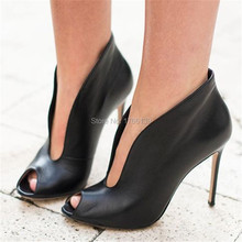 Hot Sale Genuine Leather Peep Toe Women Pumps Ankle Boots Deep V Front Ladies High Heels