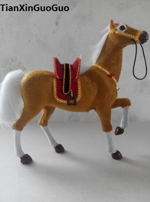 Simulation lever-jambe-up cheval modèle dur prop grand 32x28 cm plastique et fourrures cheval avec selle, décoration de la maison jouet cadeau s1770