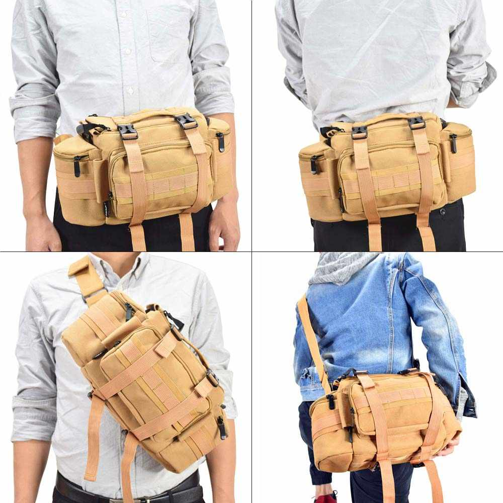 He-lanshangmaobu Fashion Camera case Multi-Functional Camera Canvas Tactical Bag Waist Rucksack Soft Pack Single Shoulder Case for Canon Nikon Sony DSLR Color : Khaki