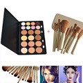 20 Color Face Concealer Contour Palette Eyeshadow + 12pcs Powder Foundation Eyeliner Blusher Makeup Brush with Case Cosmetic Kit