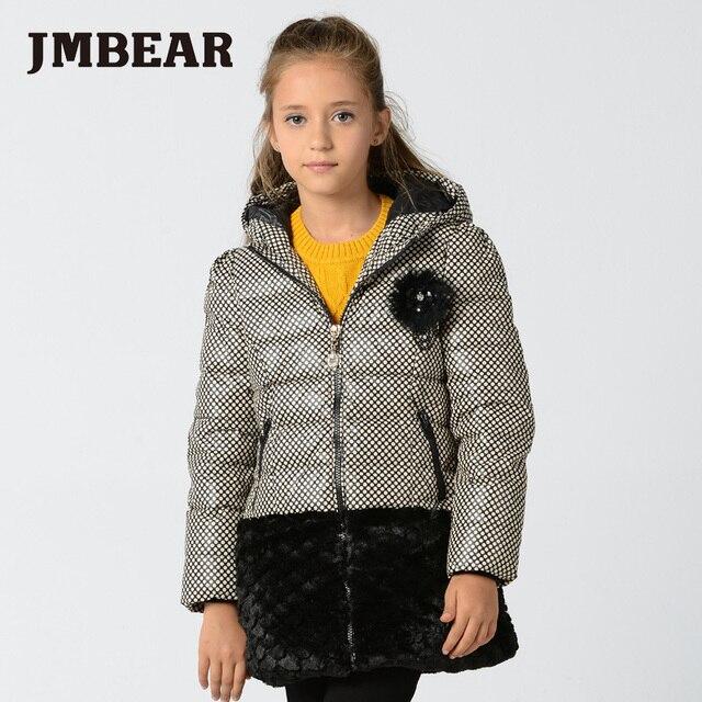 JMBEAR girll winter jackets hooded for teenage girls long down coat
