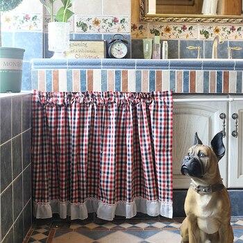 Senisaihon хлопок плед наполовину Шторы красные, синие в полоску римские Шторы Белый Тюль низ Кофе Шторы для Кухня двери шкафа