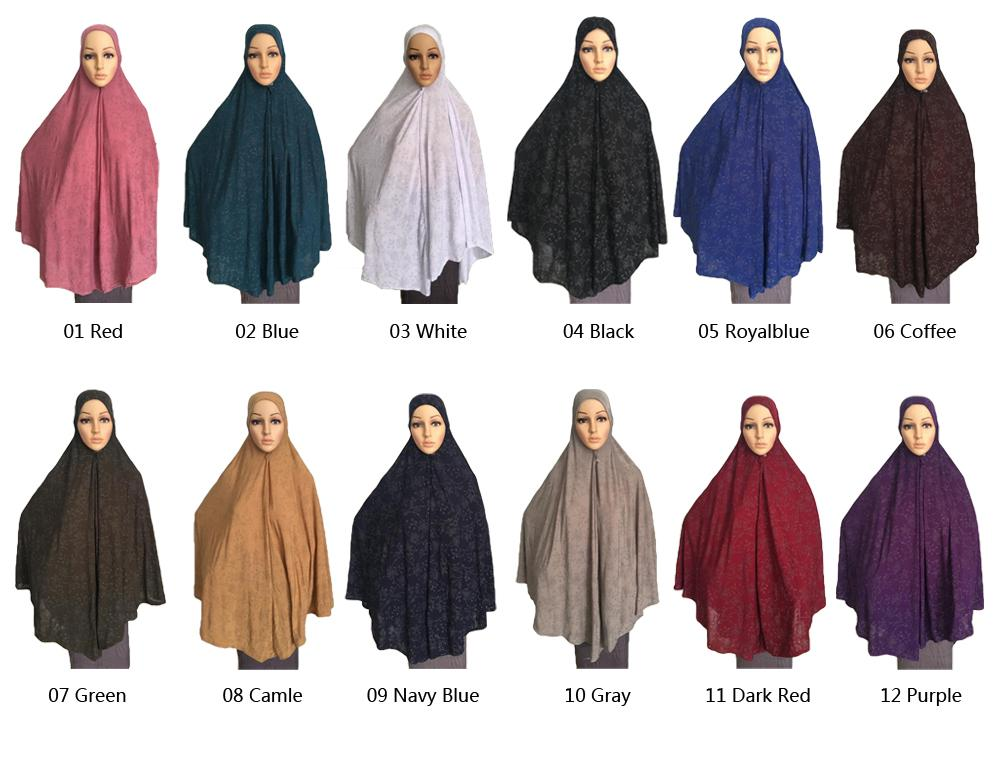 Muslim Women Prayer Dress Long Scarf Hijab Large Overhead Amira Full Cover Islamic Arab Hijabs Niquabs Prayer Garment 120*110cm