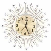 Modern Art Large Wall Clock Metal Sunburst Clear Diamante Crystal Mute Wall Clock Home Decor For Living Room Bedroom