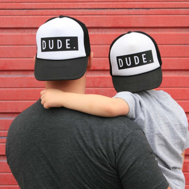 2018 New Fashion Trucker Hat DUDE Print Cap Father Mom Son Trucker Dude Hat Kids Child Baby Adult Mesh Baseball Caps Gift