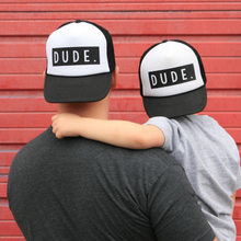 2018 New Fashion Trucker Hat DUDE Print Cap Father Mom Son Trucker Dude Hat Kids Child Baby Adult Mesh Baseball Caps Gift(China)