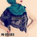 10 unids/lote hijab Llana Sólida de Algodón Viscosa Bufanda Musulmán Floral de Encaje Negro Mujeres Foulard Chal Hijabs Islámicos Cabeza Envuelve Las Bufandas