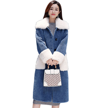2019 New Women Long Warm Woolen Coat Parka Fur Collar Blue Jacket Leisure Jackets Female Parkas Plus Size thick Outerwear Winter snow wear large fur collar coat women parka long 2017 winter parkas female thick warm ladies jackets and coats outerwear brown z
