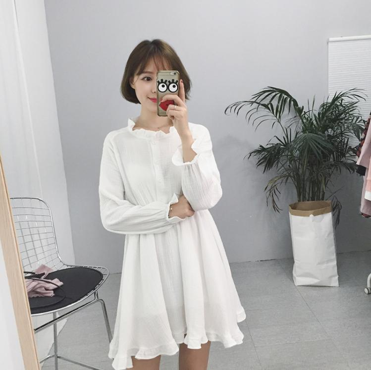 2017 fashion Autumn Spring Women Korean Solid color ruffled collar High  Waist Loose Cotton linen dress A-line Long Sleeve d73e96a0bb64