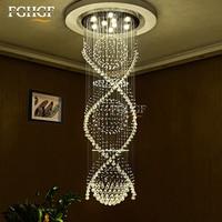 Modern Spiral Staircase K9 Crystal Chandelier Lighting Double Spiral Crystal Ceiling Lamp Living Room Hanging Lamp