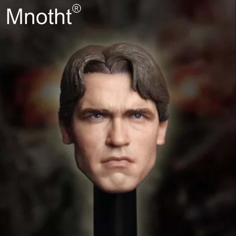 Mnotht 1 6 Scale Armo Head Carving Model T800 Terminator Young long hair Version Head Sculpt