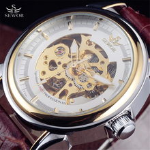 c02552f78c1 SEWOR Marca De Luxo de Ouro Skeleton Assista Men Brown Leather Strap Relógio  Mecânico Automático Relógios de Pulso Militar Negóc.