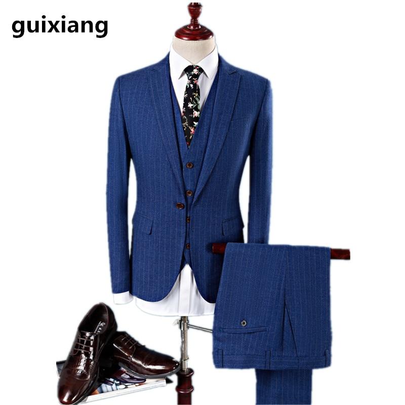 Costumes Gilet Costume De pu D'affaires Taille Casual Bleu Slim Pantalon Laine 4xl Haute Veste Qualité veste Mariage Hommes M Ciel 2017 Robe gP8dZ8wq