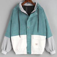 Верхняя одежда и пальто куртки вельветовый с длинным рукавом Лоскутная негабаритная куртка на молнии ветровка пальто и куртки женские ...