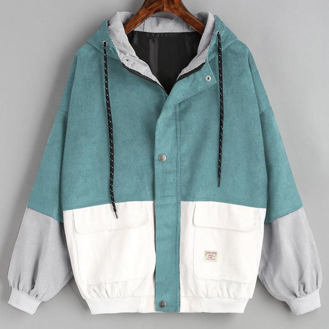 Outerwear & Casacos Casacos Manga Comprida Corduroy Patchwork Oversize Zipper Jacket Windbreaker casacos e jaquetas mulheres 2018JUL25