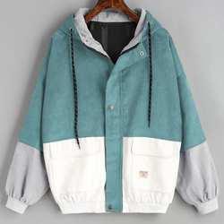 Верхняя одежда и пальто куртки с длинным рукавом Вельветовая Лоскутная куртка на молнии оверсайз ветровка пальто и куртки женские 2018JUL25