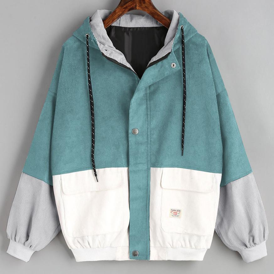Outerwear & Coats Jackets Long Sleeve Corduroy Patchwork Oversize Zipper Jacket Windbreaker coats and jackets women 2018JUL25