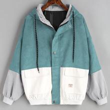 Outerwear & Coats Jackets Long Sleeve Corduroy Patchwork Oversize Zipper