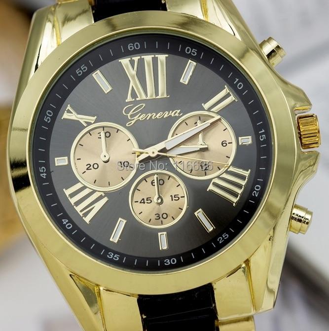 100 pcs lot Luxury Geneva Women Bicolor Golden Watch Woman Fashion wristwatch New analog quartz watch wholesale